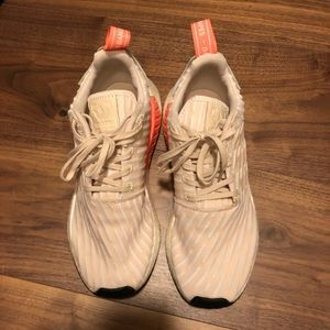 Beige and White Adidas Sneakers w/ Coral Detail